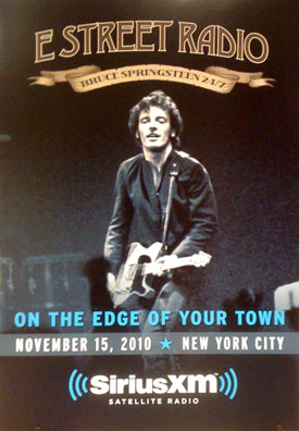 "Promotional poster for the ""E Street Radio on the Edge of Your Town"" special on Sirius XM's E Street Radio channel"