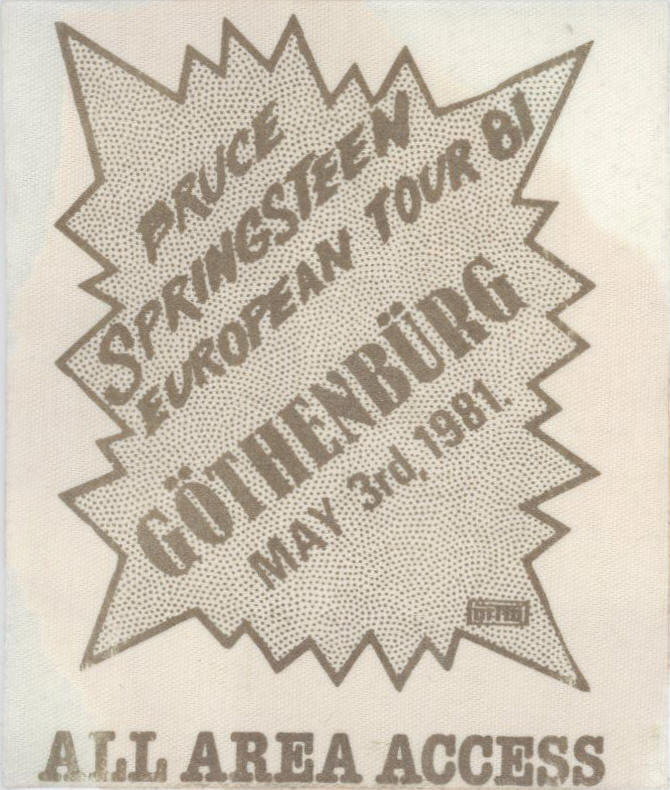 Pass for the 03 May 1981 show at Scandinavium, Gothenburg, Sweden