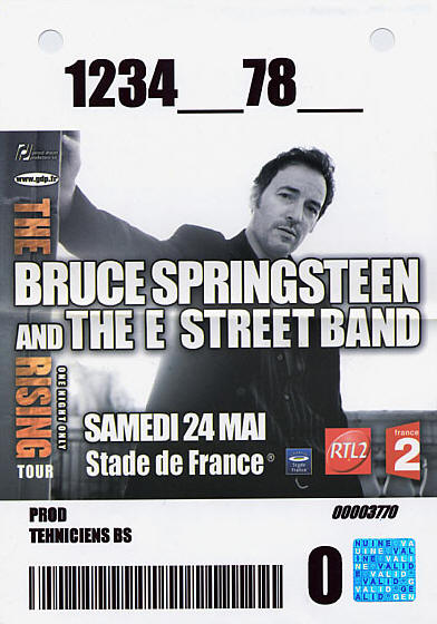 Pass for the 24 May 2003 show at Stade De France, Saint-Denis, France
