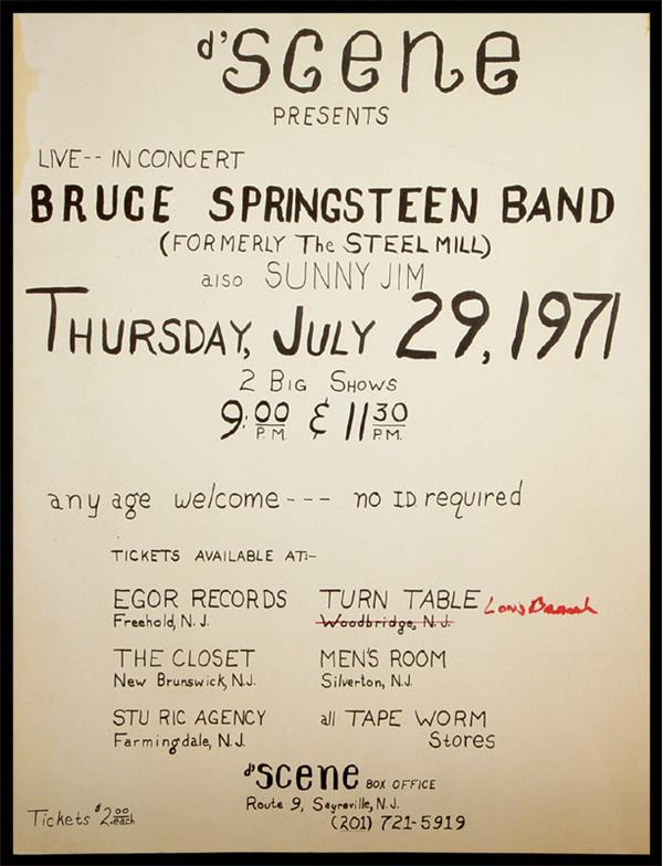 Promotional poster for the 29 Jul 1971 show at D'Dcene, South Amboy, NJ