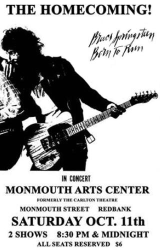 Promotional poster for the 11 Oct 1975 show at Monmouth Arts Center, Red Bank, NJ