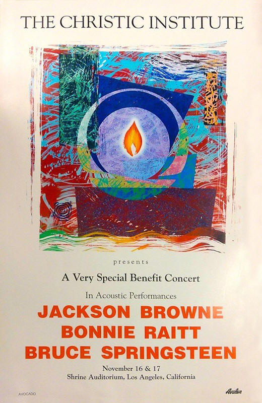 Promotional poster for the 16-17 Nov 1990 Christic Institute benefit shows at Shrine Auditorium, Los Angeles, CA