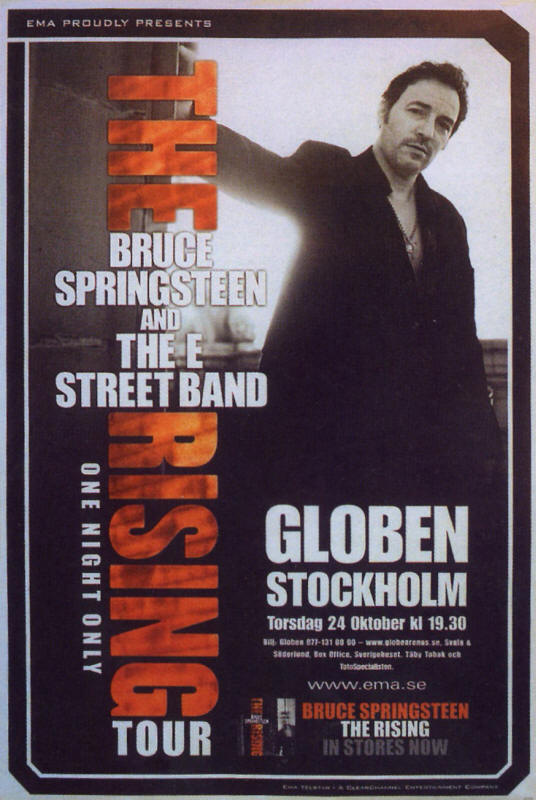 Promotional poster for the 24 Oct 2002 show at Globe Arena, Stockholm, Sweden