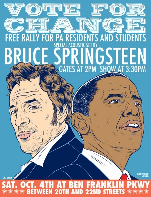 Promotional poster for the 04 Oct 2010 election rally at Ben Franklin Parkway, Philadelphia, PA