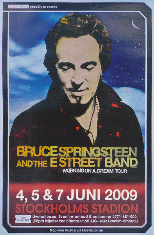 Promotional poster for the June 2009 three-night stand at Stockholms Stadion, Stockholm, Sweden