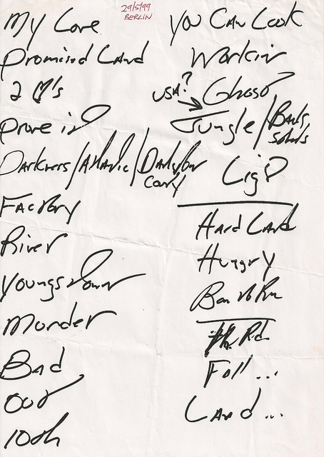 Handwritten setlist for the 29 and 30 May 1999 shows at Parkbühne Wuhlheide, Berlin, Germany