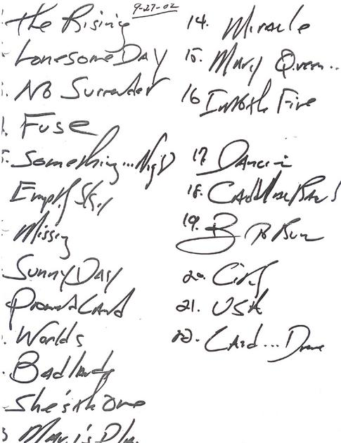 Handwritten setlist for the 27 Sep 2002 show at Bradley Center, Milwaukee, WI