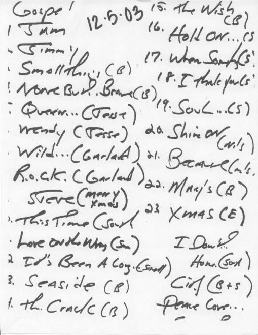 Handwritten setlist for the 05 Dec 2003 show at Asbury Park Convention Hall, Asbury Park, NJ