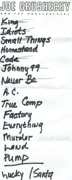Handwritten setlist for the 02 Dec 2004 show at Heinz Hall, Pittsburgh, PA