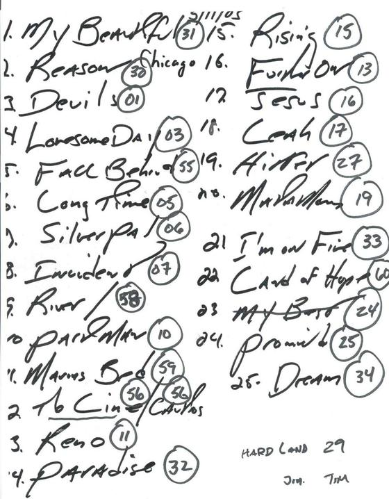 Handwritten setlist for the 11 May 2005 show at Rosemont Theatre, Rosemont, IL