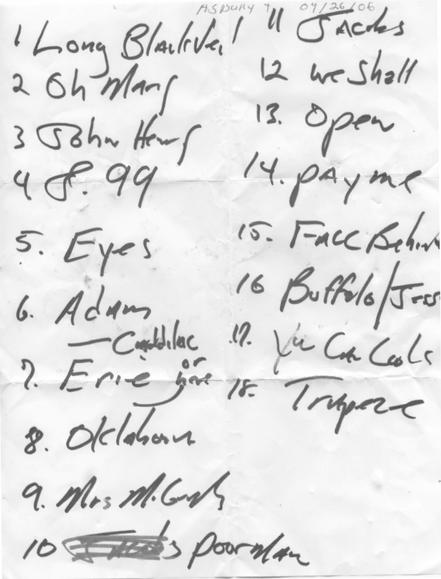Handwritten setlist for the 26 Apr 2006 show at Convention Hall, Asbury Park, NJ