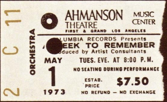 Ticket stub for the 01 May 1973 show at Ahmanson Theatre, Los Angeles, CA