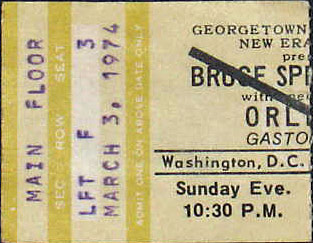 Ticket stub for the 03 Mar 1974 late show at Georgetown University, Washington, DC