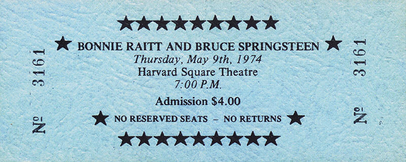 Ticket stub for the 09 May 1974 early show at Harvard Square Theatre, Cambridge, MA