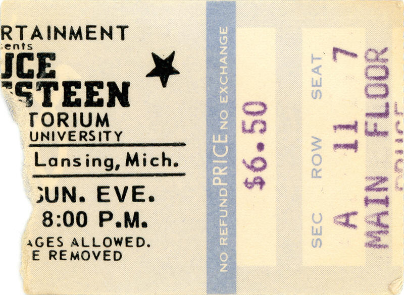 Ticket stub for the 04 Apr 1976 show at Michigan State University, East Lansing, MI