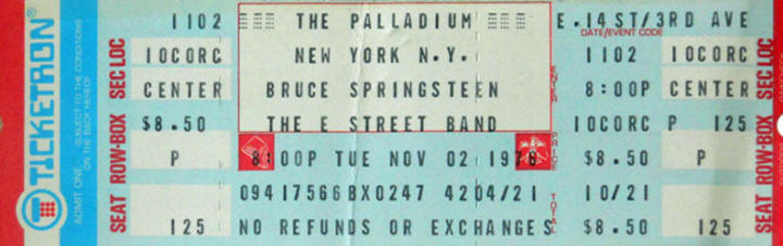 Ticket stub for the 02 Nov 1976 show at Palladium, New York City, NY