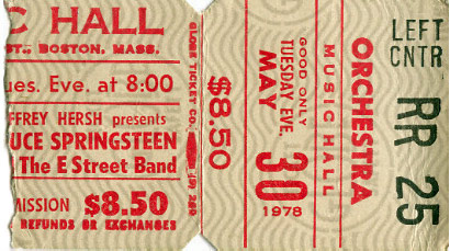 Ticket stub for the 30 May 1978 show at Music Hall, Boston, MA