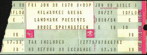 Ticket stub for the 09 Jun 1978 show at MECCA Arena, Milwaukee, WI