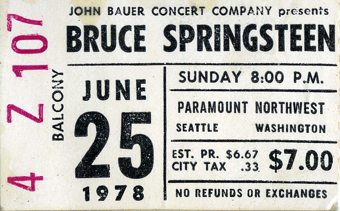 Ticket stub for the 25 Jun 1978 show at Paramount Northwest Theatre, Seattle, WA