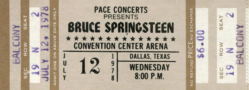 Ticket stub for the 12 Jul 1978 show at Dallas Convention Center Theater, Dallas, TX