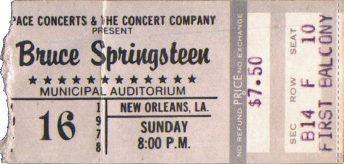 Ticket stub for the 16 Jul 1978 show at Municipal Auditorium, New Orleans, LA