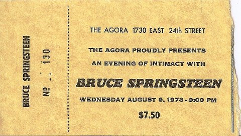 Ticket stub for the 09 Aug 1978 show at The Agora, Cleveland, OH