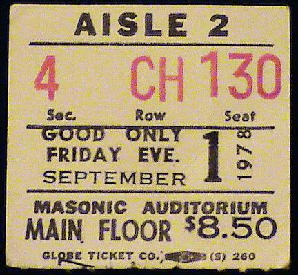 Ticket stub for the 01 Sep 1978 show at Masonic Temple Theatre, Detroit, MI