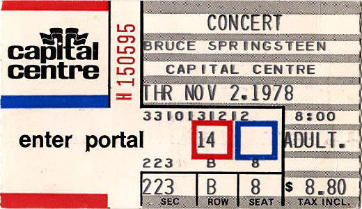 Ticket stub for the 02 Nov 1978 show at Capital Centre, Largo, MD