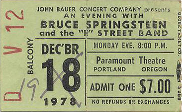 Ticket stub for the postponed 19 Dec 1978 show at Paramount Theatre, Portland, OR