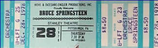 Ticket stub for the 28 Dec 1979 show at Stanley Theatre, Pittsburgh, PA