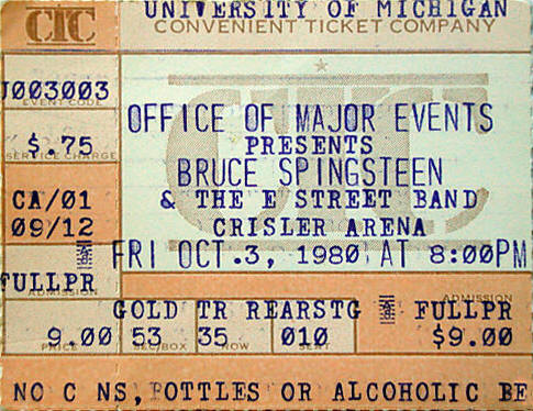 Ticket stub for the 03 Oct 1980 show at University Of Michigan, Ann Arbor, MI