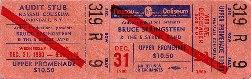Ticket stub for the 31 Dec 1980 show at Nassau Veterans Memorial Coliseum, Uniondale, NY