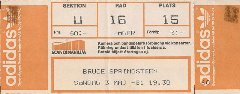 Ticket stub for the 03 May 1981 show at Scandinavium, Gothenburg, Sweden