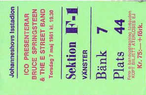 Ticket stub for the 07 May 1981 show at Johanneshovs Isstadion, Stockholm, Sweden