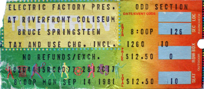 Ticket stub for the 14 Sep 1981 show at Richfield Coliseum, Cleveland, OH
