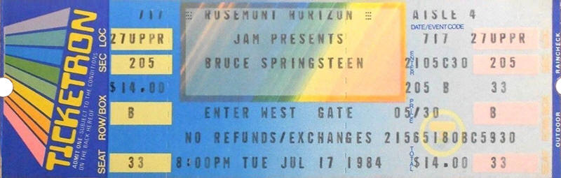 Ticket stub for the 17 Jul 1984 at Rosemont Horizon, Rosemont, IL