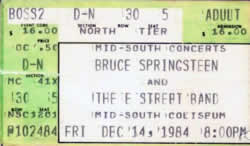 Ticket stub for the 14 Dec 1984 show at Mid-South Coliseum, Memphis, TN