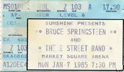 Ticket stub for the 07 Jan 1985 show at Market Square Arena, Indianapolis, IN