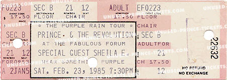 Ticket stub for the 23 Feb 1985 show at The Forum, Inglewood, CA