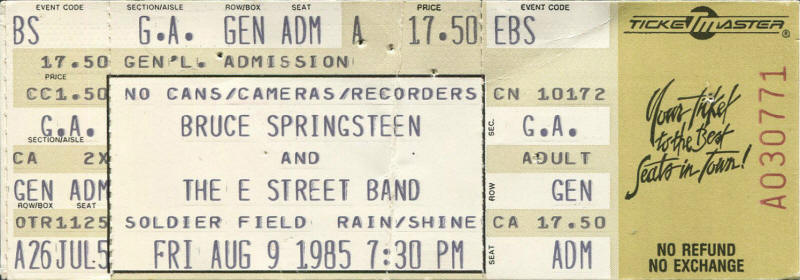 Ticket stub for the 09 Aug 1985 show at Soldier Field, Chicago, IL