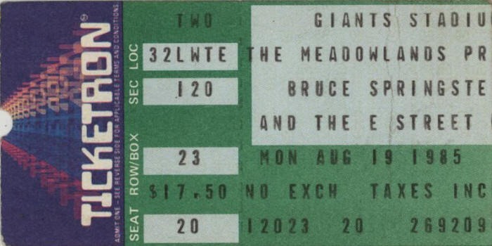 Ticket stub for the 19 Aug 1985 show at Giants Stadium, East Rutherford, NJ