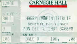 Ticket stub for the 07 Dec 1987 show at Carnegie Hall, New York City, NY