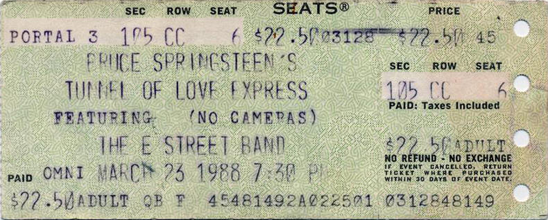 Ticket stub for the 23 Mar 1988 show at The Omni, Atlanta, GA