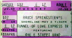 Ticket stub for the 03 May 1988 show at Shoreline Amphitheatre, Mountain View, CA