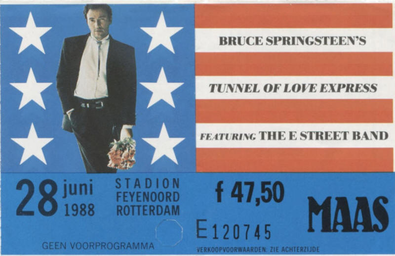 Ticket stub for the 28 Jun 1988 show at Stadion Feyenoord, Rotterdam, The Netherlands