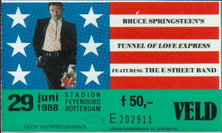 Ticket stub for the 29 Jun 1988 show at Stadion Feyenoord, Rotterdam, The Netherlands