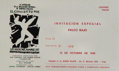 Ticket stub for the 15 Oct 1988 show at River Plate Stadium, Buenos Aires, Argentina