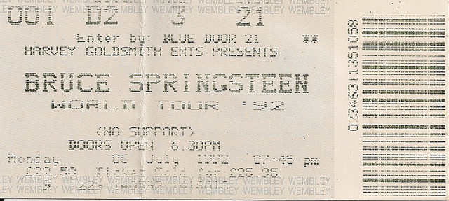 Ticket stub for the 06 Jul 1992 show at Wembley Arena, London, England