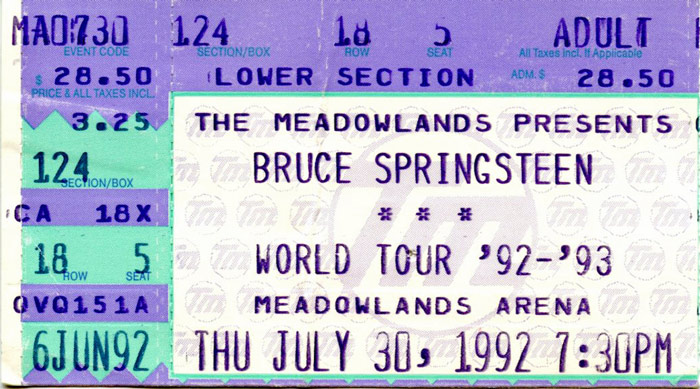 Ticket stub for the 30 Jul 1992 show at Brendan Byrne Arena, East Rutherford, NJ