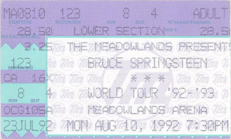 Ticket stub for the 10 Aug 1992 show at Brendan Byrne Arena, East Rutherford, NJ